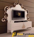 Desain Meja TV Model  Ukiran Putih Klasik