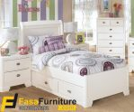 Desain Tempat Tidur Model Sorong Putih