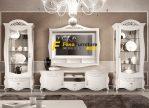 Set Meja TV Lemari Hias Putih Ukiran Simple
