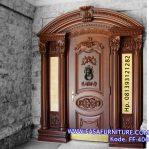 Pintu Single Lengkung Ukiran Klasik Kayu Jati