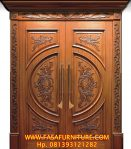 Pintu Utama Klasik Model Kupu Tarung Ukir Jati
