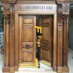 Set Pintu Kupu Tarung Klasik Kayu Jati Perhutani