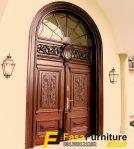 Pintu Kupu Tarung Ukir Kusen Jati Lengkung