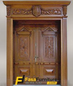 Set Pintu Utama Ukir Kayu Jati Elegan
