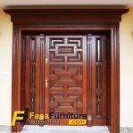 Pintu Kayu Jati Single Minimalis Jendela Kaca