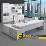 Set Meja Kantor Minimalis Warna Putih