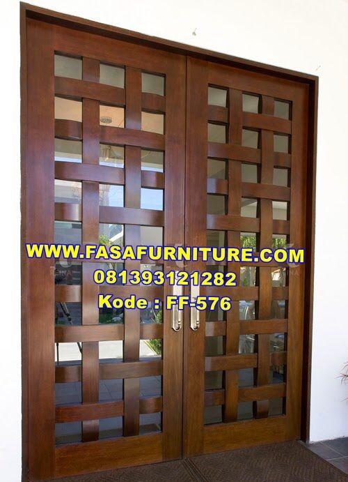 Model Pintu Jati Minimalis Anyaman Bambu