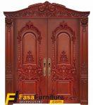 Pintu Double Kayu Jati Motif Ukiran Klasik