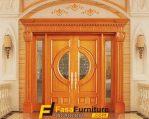 Pintu Utama Klasik Minimalis Motif Kaca Tengah
