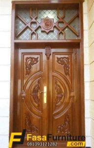 Pintu Double Ukir Jati Boven Kaca Mewah