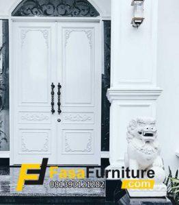 Pintu Utama Klasik Kupu Kupu Putih Mewah