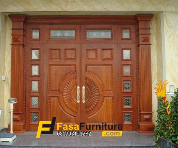 Kusen Pintu Depan Minimalis Jendela Boven Motif Kaca