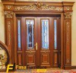 Set Pintu Utama Klasik Kaca Patri